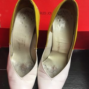 Charles Jourdan Shoes - Charles Jourdan white with yellow detail vintage